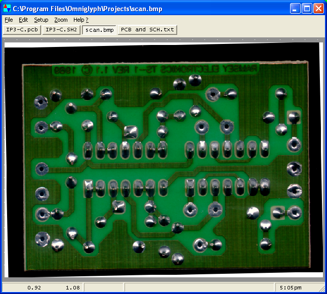 CIRCAD Version 5 PCB Editor in a reverse engineering project